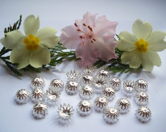 25 bead caps silver 9 mm filigree flower bead caps
