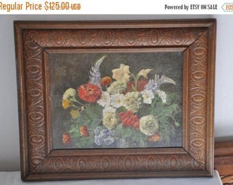 15 % SALE Art Deco French Oil Painting, French Art Painting, Floral Roses, Signed 1930's, French Oil painting, Carved Wood Frame, Made in Fr