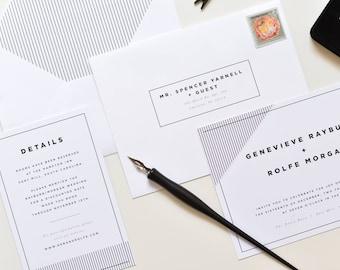 Modern Wedding Invitation | Simple Wedding Invitation, Retro Wedding Invitation, Bold Modern Wedding, Black and White Wedding, Stripes