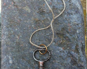 Wire Wrapped Skeleton Key Necklace