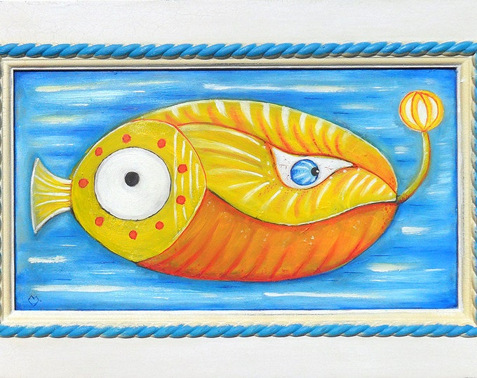 Lying fish - oil painting on wood