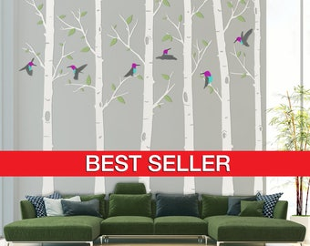 Birch Tree Wall Decal, Birch Tree Decal, Humming Birds Birch Tree Wall Decal - Hummingbird Tree Wall Decal Stickers - By Todeco