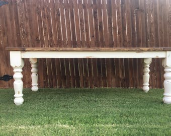 Rustic Farmhouse table. Dining table. Spindal leg dining table. Rustic table. Farmhouse table. Custom dining table. Antiqued dining table.