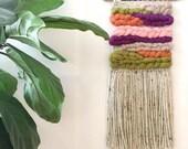 Handwoven wall hanging, weaving, woven wall hanging