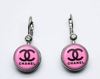 boucles d oreilles coco  chanel rose   bouton pression 18mm
