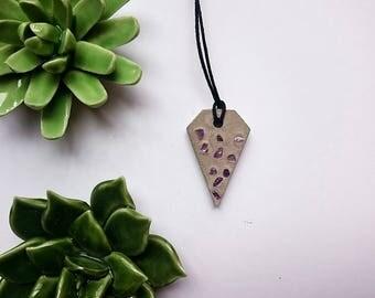 Concrete necklace with purple gemstone Amethyst