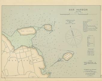 0503-Colored Chart of Bar Harbor, Maine 1909 by Geo. Eldridge