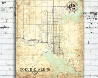 COEUR d'ALENE ID Canvas Print Idaho Vintage map gift home decor Id Vintage Town Plan map Wall Art map poster retro old poster vintage map Id