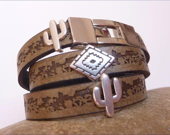 Two laps brown leather bracelet