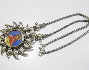 Beautiful God Pendant With Flaxible Chain , Silver oxidized Long Necklace , Chain With Designer Metal Pendant , Temple Jewelry.