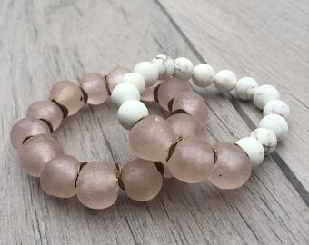 "Set of 2 ""Jenn"" blush sea glass beaded bracelets • Fast and free shipping"