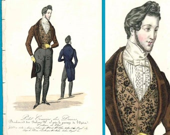 Antique 1833 dapper gentleman fashion print Modes de Paris pantaloons jacket waistcoat hat