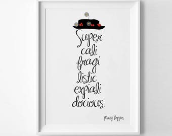 Mary Poppins Disney Quote Print Supercalifragilisticexpialidocious Poster Mary Poppins Kids Room Nursery Inspirational Bedroom Gift (020)