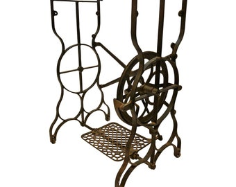 Antique CAST IRON Treadle Base table vintage sewing machine black metal industrial stand man cave architectural salvage project stand 17347
