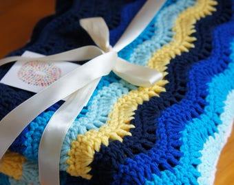 Throw Blanket ,Crochet blanket,Crochet Afghan,handmade blanket - Blue Ocean Wave