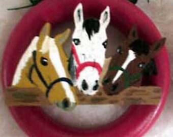 Three Horse Friends Christmas Tree Ring Ornaments
