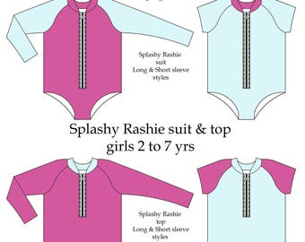 Splashy Rashie suit and top pattern Girls size 2 to 7yrs