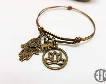 Hamsa Lotus Elephant Boho Charm Bracelet
