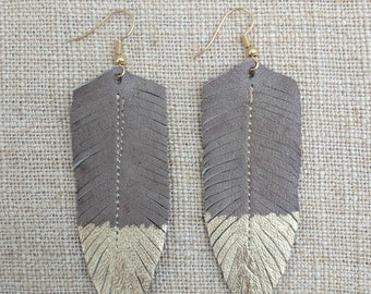 Taupe Gold Dipped Upcycled Leather Feather Earrings