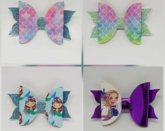 Baby/Toddler/Girl/Adult 3.75 Inch 9.5 cm Faux Glitter Leatherette Hair Bow on Lined Alligator Clip -  Mermaid Scale Bow Mermaid Bow
