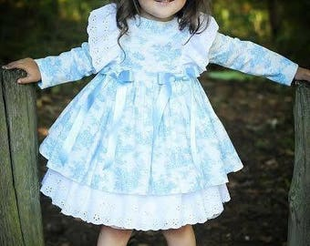 French Toile de Jouy Dress Hand Made sizes from 12 mths to 5 years.