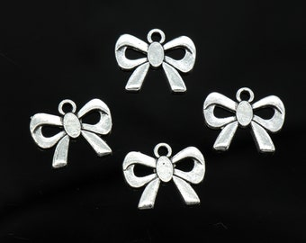 8 Pcs Ribbon Bow Charms Antique Silver Tone 2 Sided 19x23mm - YD1606