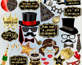 50th photo booth props birthday photobooth party printable black gold props backdrops & props birthday party props birthday photobooth