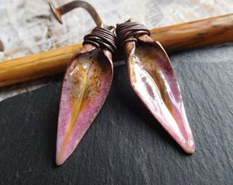 Copper enameled, pink, enamels on copper, handmade tribal spikes.