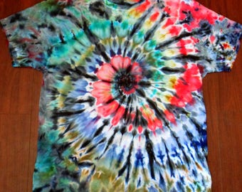 L Red, Blueberry, and Black Ice Dyed T-Shirt