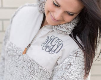 Monogram Sherpa Pullover, Monogram Fleece Sherpa, Sherpa Sweatshirt, Pullover, Monogrammed Pullover, Sherpa Pullover, Bridesmaids Gift