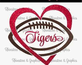 Tigers Football Heart Design Pattern Graphic Design Instant Download EPS SVG DXF  Cutting Files Cameo