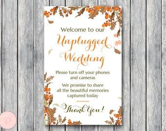 Autumn Fall Unplugged Wedding Sign, Unplugged Ceremony Sign, Printable Wedding Sign, Printable sign, Wedding decoration sign WD84 TH52