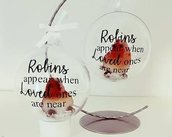 robins appear when loved ones are near bauble, remembrance bauble, memorial ornament, large bauble with robin and snow, christmas decoration