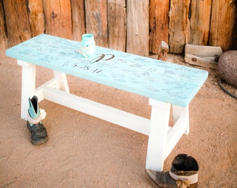 Personalized Two-Tone Farmhouse Bench - Wedding Guest Book