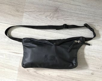 Black leather fanny pack, belt bag, crossbody bag