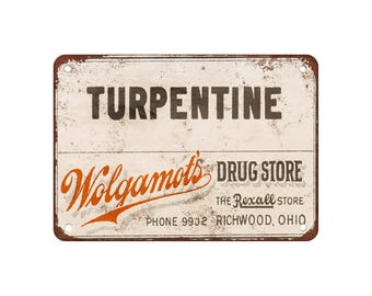 "Wolgamot's Turpentine - Vintage Look Reproduction 9"" X 12"" Metal Sign"