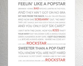 Post malone lyrics etsy post malone rockstar funky lyric art print a4 size stopboris Gallery