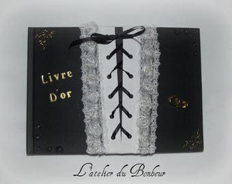Guestbook Gothic black and white with black satin lacing