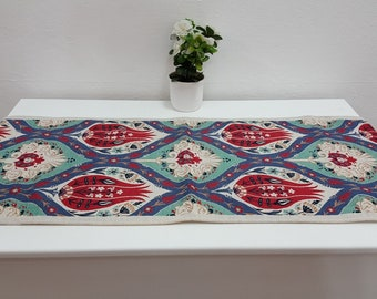 Ceramic Tile Designed Exotic Fabric Runner table runner or bed runner
