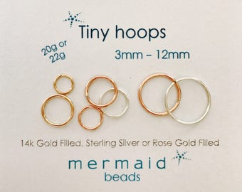 Cartilage Earring Hoop Nose Ring Septum Ring Helix Tragus Endless Hoop Gold Silver Rose Gold Tiny Piercing Rook Conch Orbital Hoop