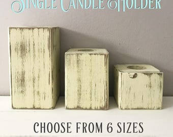 Single ONE Wood Block Tealight Candle Holders Rustic Reclaimed Pallet Barn Wood Hand Painted Distressed Tea Light