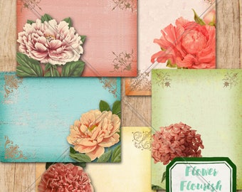 Flower Journaling Cards - Peony Journal Cards - Flower & Flourishes Journaling Cards - 3x4 Printable Flower Journaling Cards