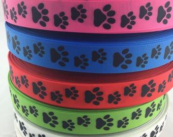 "Paw Print Grosgrain Ribbons, paw print ribbons, dog ribbons, puppy ribbons, Available in 7/8"""