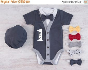 LATE SHIP SALE 1st Birthday Boy Outfit, Personalized Graphite Gray Cardigan, Bodysuit, Hat & Bow Tie Set, First Birthday Photo Props, One Ye