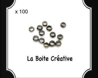 100 beads has metal black GUN METAL 2 mm crimp