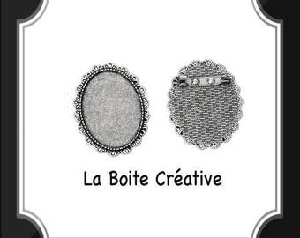 SUPPORT oval BROOCH for 30 x 40 mm antique silver