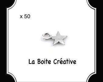 METAL STAR CHARMS 50 SILVER CHRISTMAS PARTY
