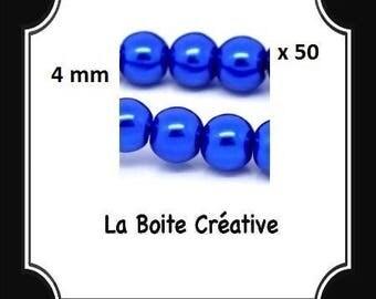 50 glass Pearl blue round beads dark 4 mm