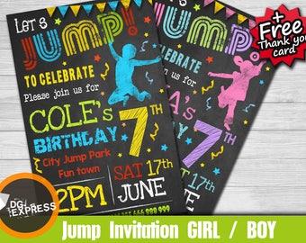 "Jump Invitation - ""TRAMPOLINE BIRTHDAY Party Invitation"" Trampoline Party, Jump Girl Boy Digital Jumping Park Invite, Jump Printable"