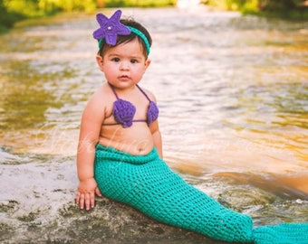 Crochet Baby Mermaid Outfit/Mermaid Tail/Baby Mermaid prop/Toddler Mermaid Costume/Disney/mermaid headband/Mermaid Costume/Mermaid Outfit/